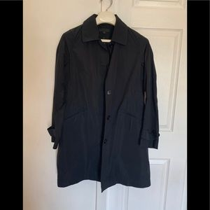 Black Uniqlo rain trench jacket